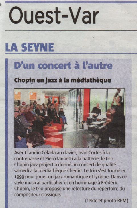 Piero iannetti, article de concert en médiathèques avec Frédéric Chopin jazz project, Médiathèque Andrée Chedid à la Seyne sur mer.