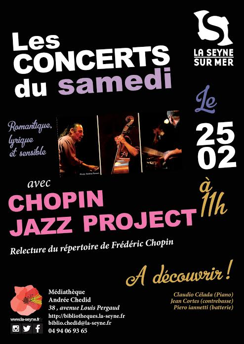 Piero iannetti, concert en médiathèques avec Frédéric Chopin jazz project, Médiathèque Andrée Chedid, la Seyne sur mer.