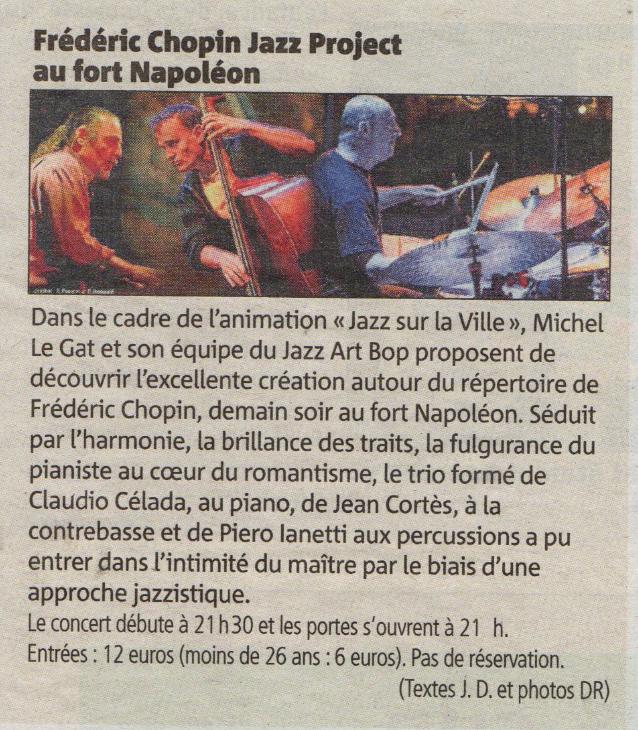 Piero iannetti, photo d'article de concert en club de jazz, avec Frédéric Chopin jazz project, au fort Napoléon, la Seyne sur mer